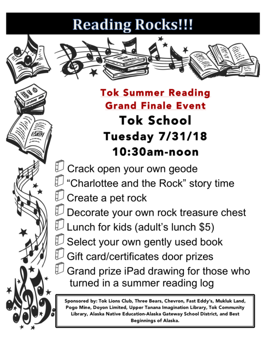 "Tok Summer Reading Grand Finale Event: Tok School, Tuesday, July 31st, 2018 from 10:30am to noon. Crack open your own geode, ""Charlotte and the Rock"" story time, Create a pet rock, Decorate your own rock treasure chest, Lunch for kids (adult's lunch $5), Select your own gently used book, Gift card/certificates door prizes, Grand prize iPad drawing for those who turned in a summer reading log. Sponsored by: Tok Lions Club, Three Bears, Chevron, Fast Eddy's, Mukluk Land, Pogo Mine, Doyon Limited, Upper Tanana Imagination Library, Tok Community Library, Alaska Native Education-Alaska Gateway School District, and Best Beginnings of Alaska."