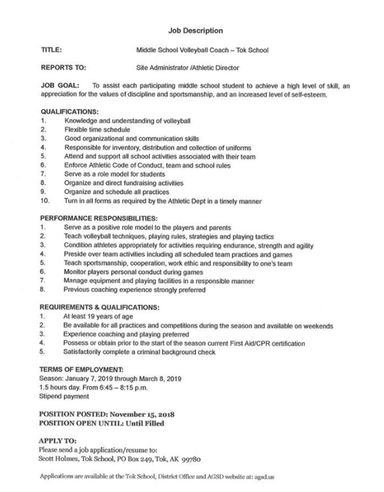 Tok School Middle School Volleyball Coach Job Description