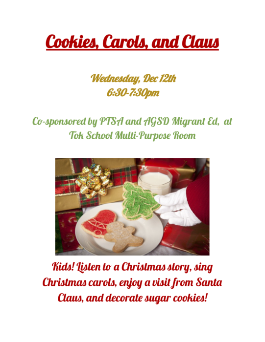 Cookies Carols and Clause Flyer