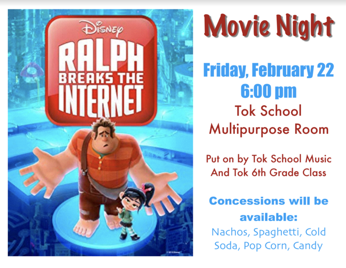 Movie Night Friday 22nd 6:00 pm