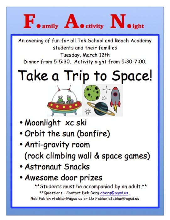 Family Activity Night for all Tok School and REACH Academy students and their families. Tuesday March 12th.