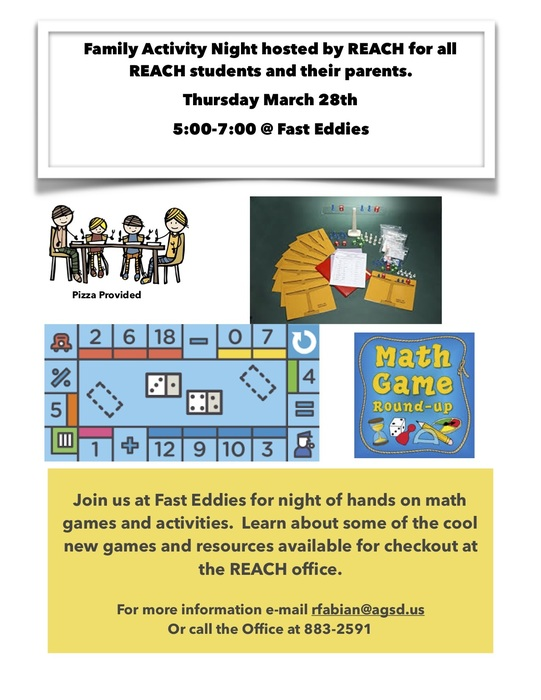 REACH Academy Family Activity Night on Thursday March 28th.