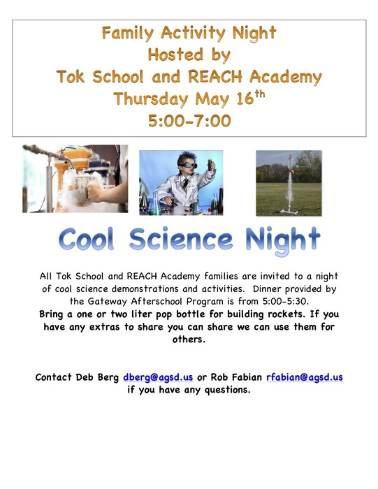 Family Activity Night for all Tok School and REACH Academy Families