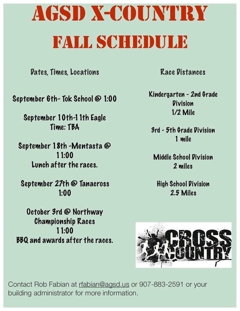 AGSD Cross Country Race Schedule