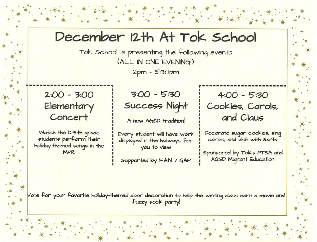 Tok School's Events for December 12th